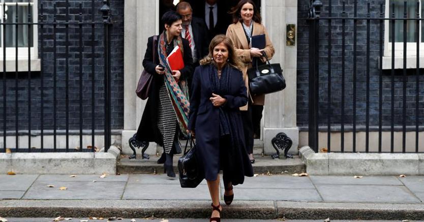 Emma Marcegaglia, presidente di BusinessEurope, all'uscita dal numero 10 di Downing Street (Reuters/Peter Nicholls)